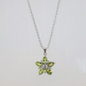 Sterling Silver Necklace Genuine Peridot Gem